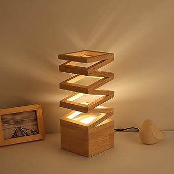 HM&DX Lámpara de mesa led madera,Moderna lámpara de la mesilla ...