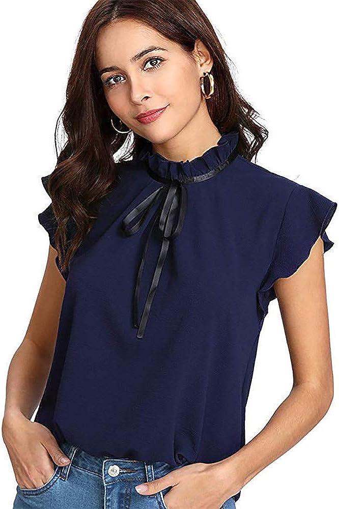 Camisa Mujer Casual Cap Manga Corbata de Lazo Camisa Blusa de Gasa sólida Tops Chemise Femme: Amazon.es: Ropa y accesorios