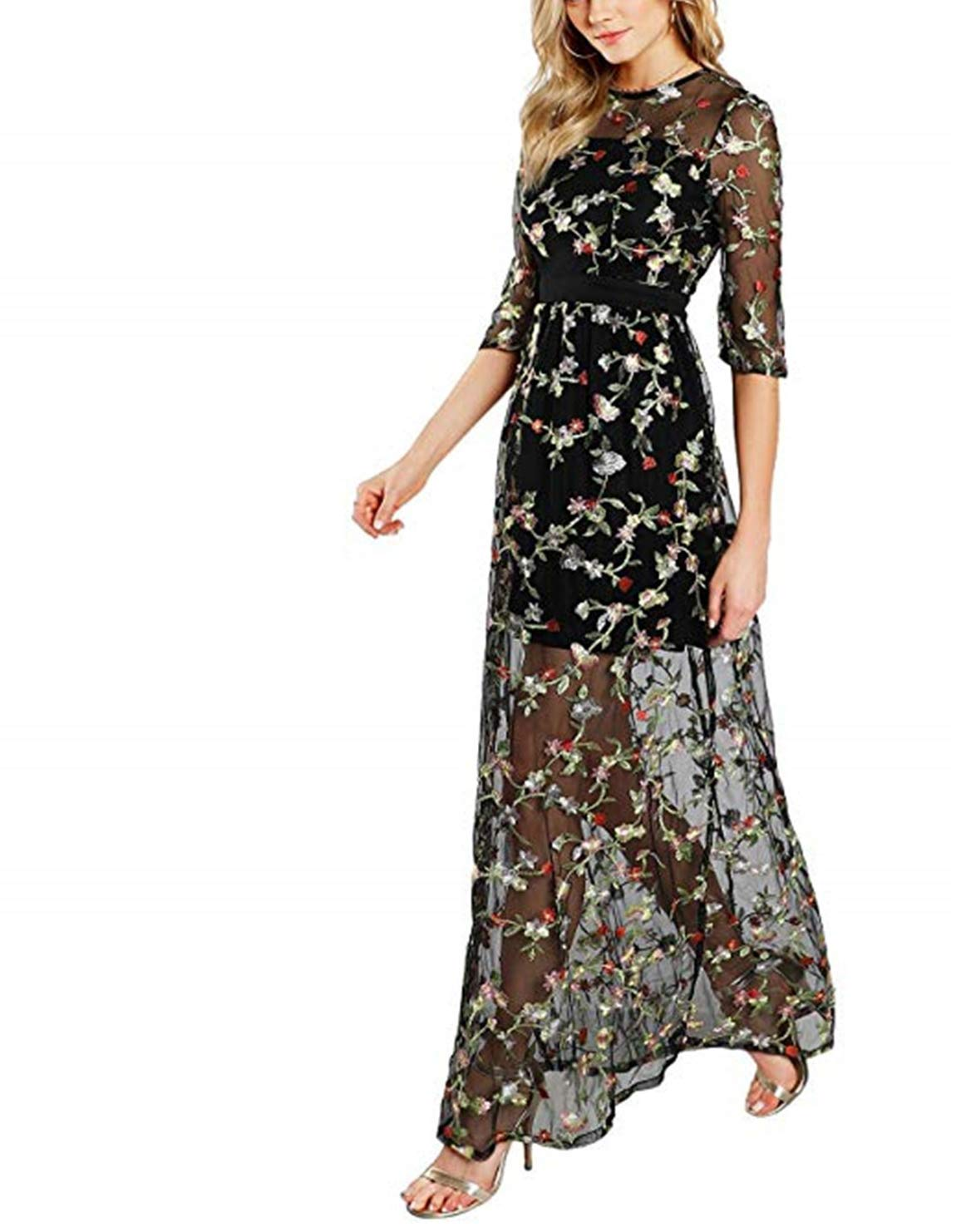 4172ecc51c5 Scarisee Women s 3 4 Long Sleeves Embroidery Prom Evening Dresses  Ankle-Length Formal Party Gowns Black 14