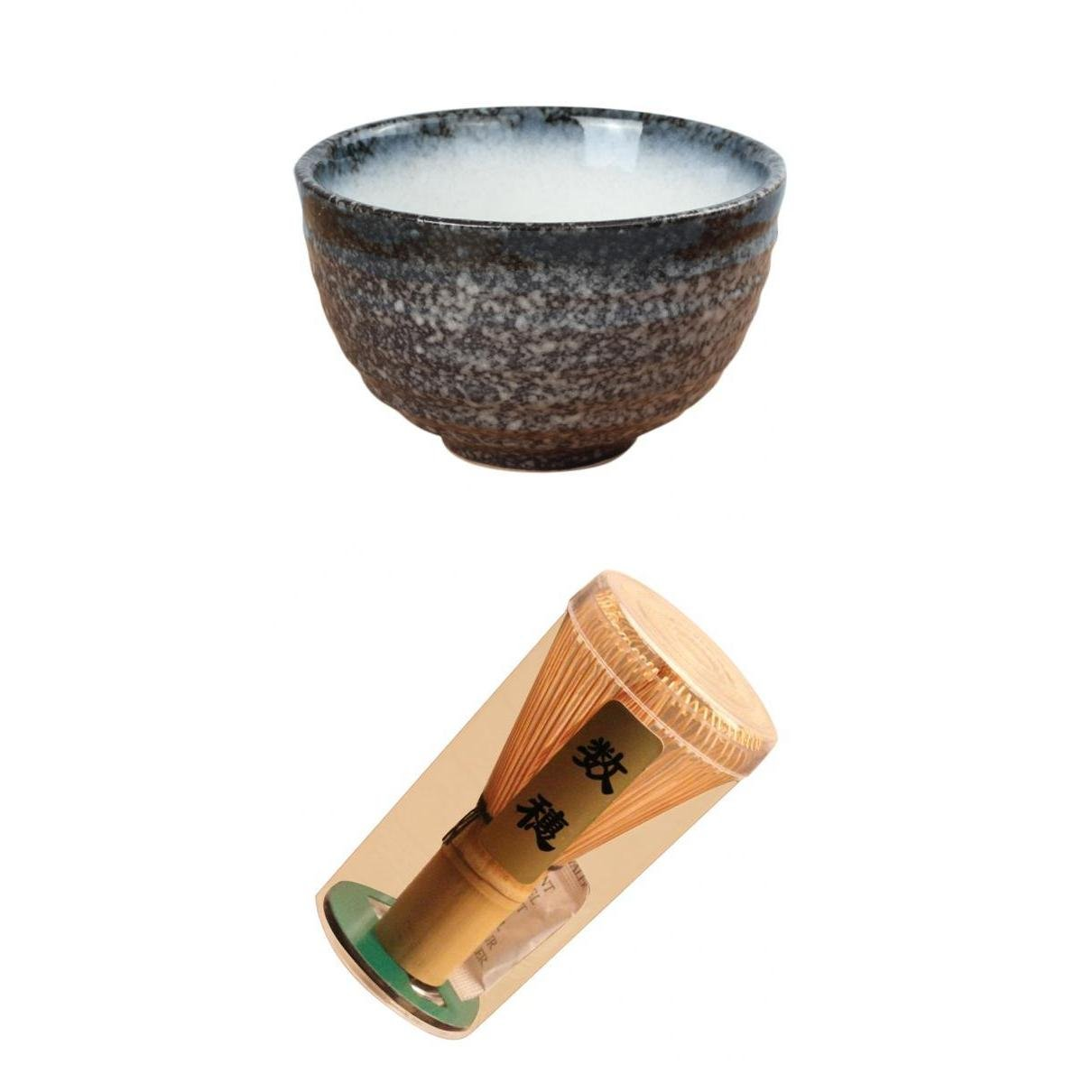 MagiDeal Tea Ceremony Bowl Green Tea Ceramic +Bamboo Chasen Matcha Powder Whisk Set