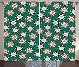 Casino Decorations Curtains Stylized Poker Chips Pirate Symbols Money Sword Cross Bone Skull Risk Living Room Bedroom Decor 2 Panel Set