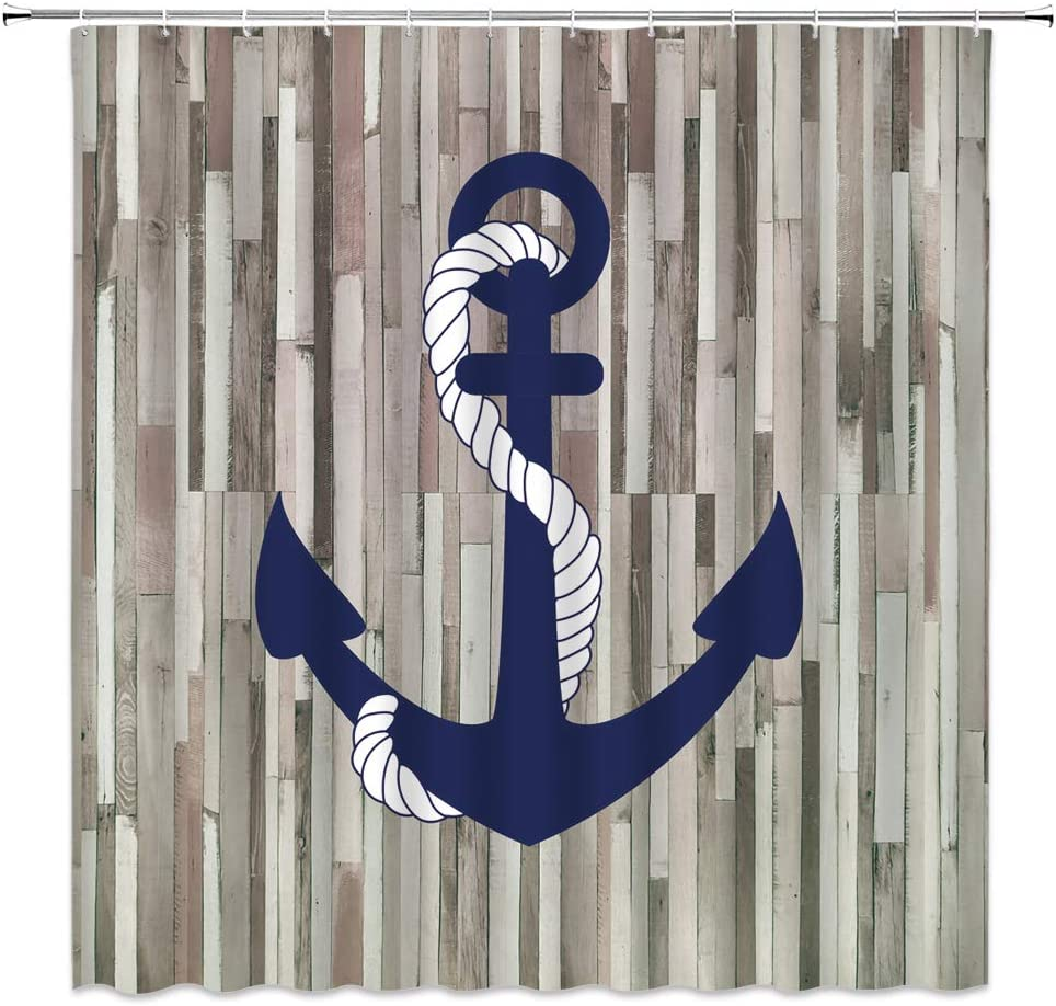 Nautical Anchor Shower Curtain Rustic Wooden Board Navy Blue Anchor Vintage Country Plank White Rope Timeworn Marine Weathered Boat Ocean Adventure Fabric Bathroom Curtain Set 70x70 Inch with Hooks