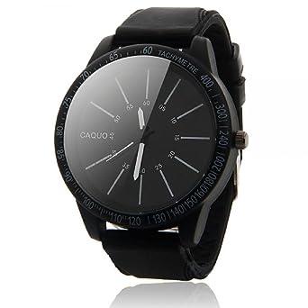 Sannysis® Hombres de acero inoxidable de moda de lujo del reloj del deporte(negro