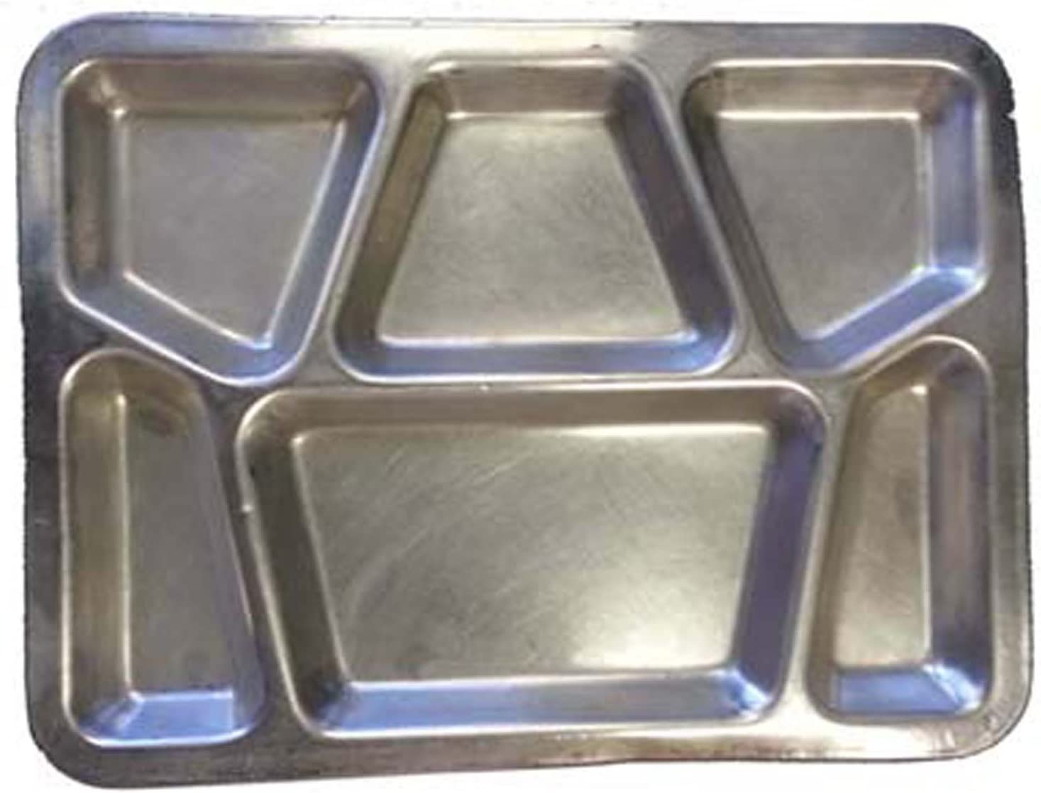 Military Outdoor Clothing Previously Issued U.S. G.I. Stainless Steel Military Mess Tray with 6 Compartments