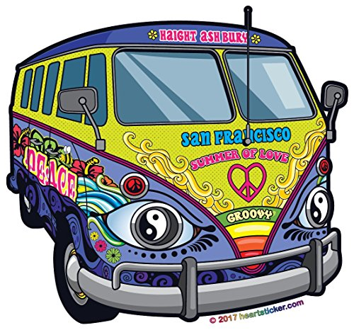 CA San Francisco Love Bus Sticker- All Weather Vinyl Sticker - With Sticky Back - Super Adhesive-Used on all flat hard smooth clean surfaces - For Outdoor & Indoor use