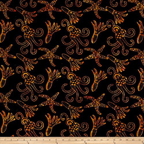 Textile Creations Squid Starfish Batik Black/Brown Fabric by The ()
