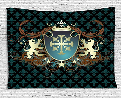 apestry, Heraldic Design from Middle Ages Coat of Arms Crown Lions and Swirls, Wall Hanging for Bedroom Living Room Dorm, 60 W X 40 L Inches, Teal Black Cinnamon ()