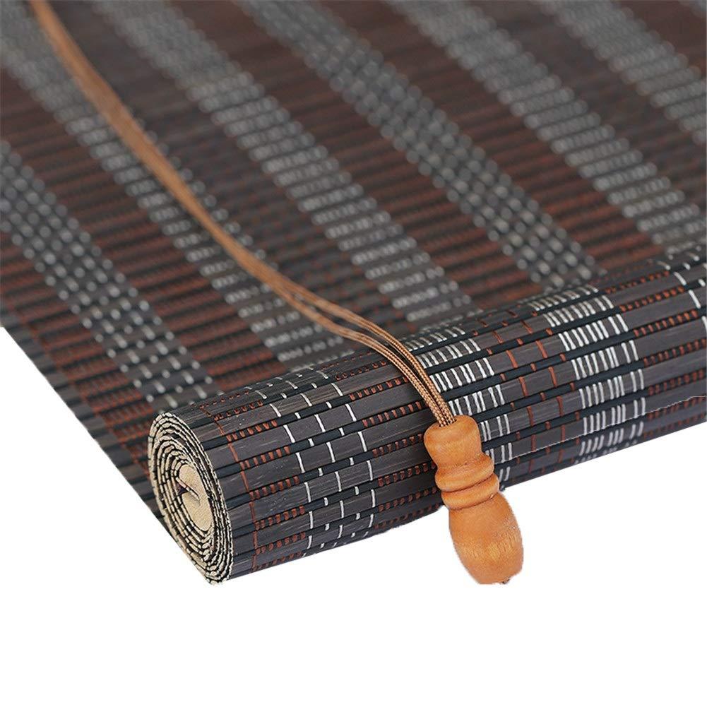 木製ローラーブラインド、垂直方向の遮光ブラインド、清掃が簡単、リビングルーム/ベッドルーム/オフィス/ティールームに最適 - グレー (Color : Flat, Size : 140x160cm) B07SXKFVNH Flat 140x160cm