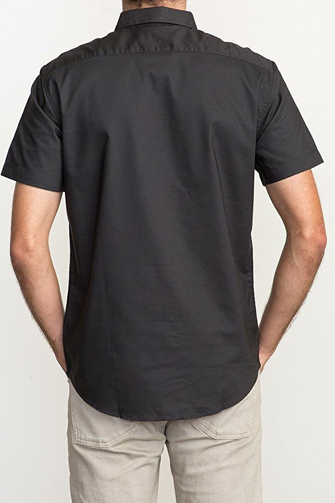 RVCA Mens Thatll Do Oxford Short Sleeve Dress Shirt Black