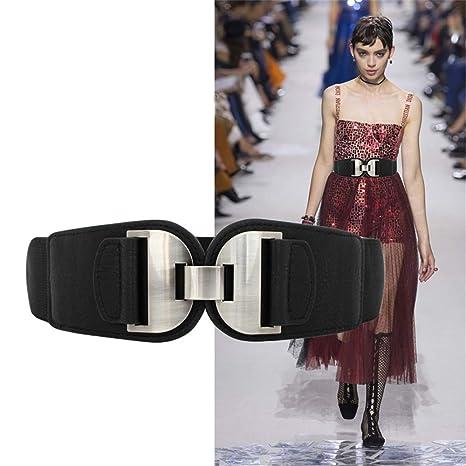 Maybesky Señoras Piscis Spit Beads Hebilla de Metal Elástico Cinturón Ancho Vestido de la decoración de la Capa Cinturón de Vestir elástico Ancho (Color ...