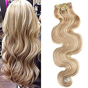 Moresoo 18 Inch Golden Blonde Highlighted with Bleach Blonde Wavy Clip in Hair Extensions Human Hair Body Wave Clip in Real Hair Extensions Thick Full Head 7 Pieces 120g