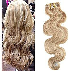 Moresoo 20 Inch Human Hair Clip ins Wave Golden Blonde Highlighted with Bleach Blonde Clip Hair Extensions Human Hair Full Head Set 7 Pieces 120g for Women