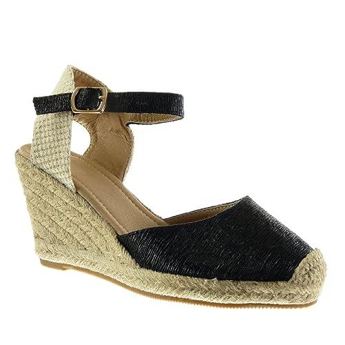 a7686afb619f0a Angkorly - Chaussure Mode Sandale Espadrille ouverte femme brodé corde  brillant Talon compensé plateforme 9.5 CM - Noir - 98-1 T 40  Amazon.fr   Chaussures ...