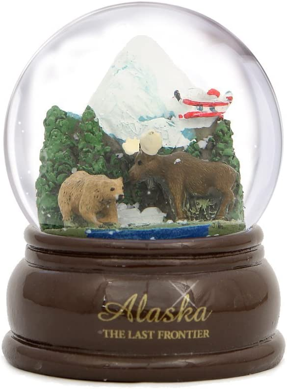 City-Souvenirs Alaska Snow Globe (3.5 Inches Tall) with Bear, Moose and Plane on Snow Capped Mountain