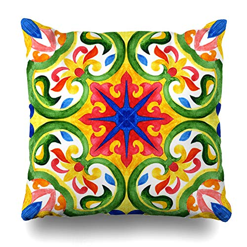 - Ahawoso Decorative Throw Pillow Cover Azulejo Blue Talavera Portuguese Tiles Green Old Gorgeous Pattern Vintage Watercolor Mexican Hispanic Zippered Design 20