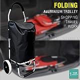 Shopping Cart Trolley Grocery Aluminium Foldable Luggage Wheels Basket Carts Bag
