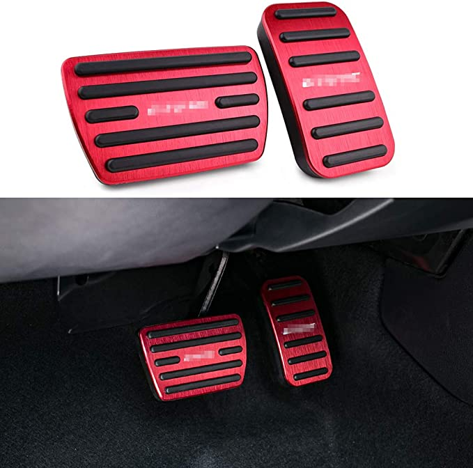 NYZAUTO Anti-Slip Performance Foot Pedal Pads for Honda 10th Civic,Auto No Drilling Aluminum Brake and Accelerator Pedal Covers Silver Red
