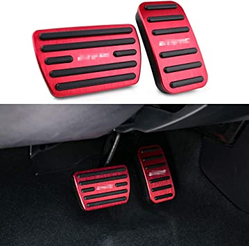 2 in 1 Red Auto Car Manual Transmission Accelerator Clutch Brake Foot Pedal Pad