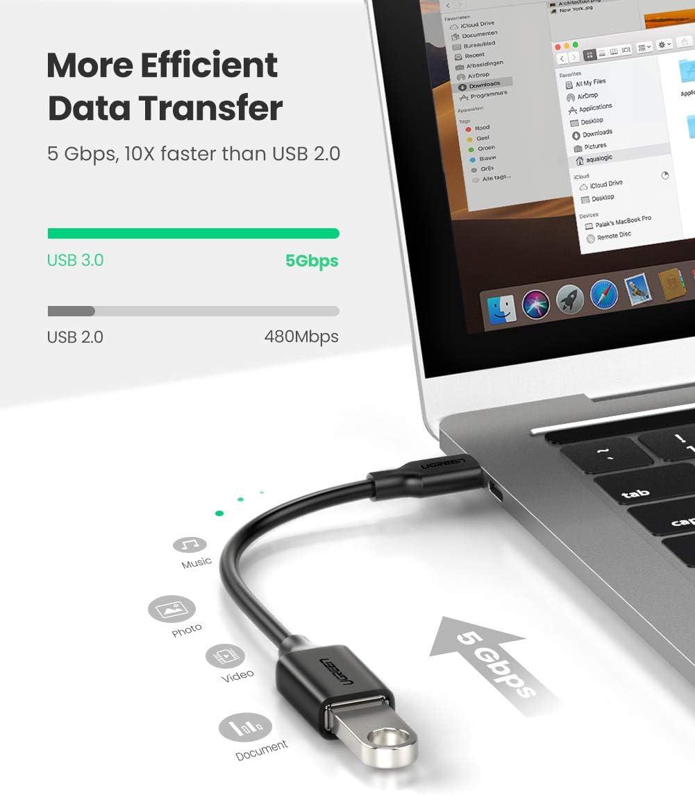 UGREEN Cable OTG USB C a USB 3.0 Adaptador OTG USB 3.1 Tipo C 5Gbps para Samsung Galaxy S20 S10+ S9 S8 Note 10 Tab S7 S6, Huawei P40 P30, Xiaomi Mi 10 ...