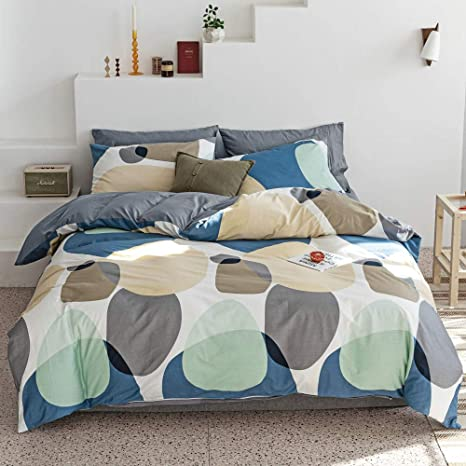 Amazon Com Rounds Geometric Bedding Duvet Cover King Size Cotton Bed Set Multi Colored Modern Bedroom Set Stylish Men Bedding Print Mint Green Blue Cream Gray Great Circle Kitchen Dining