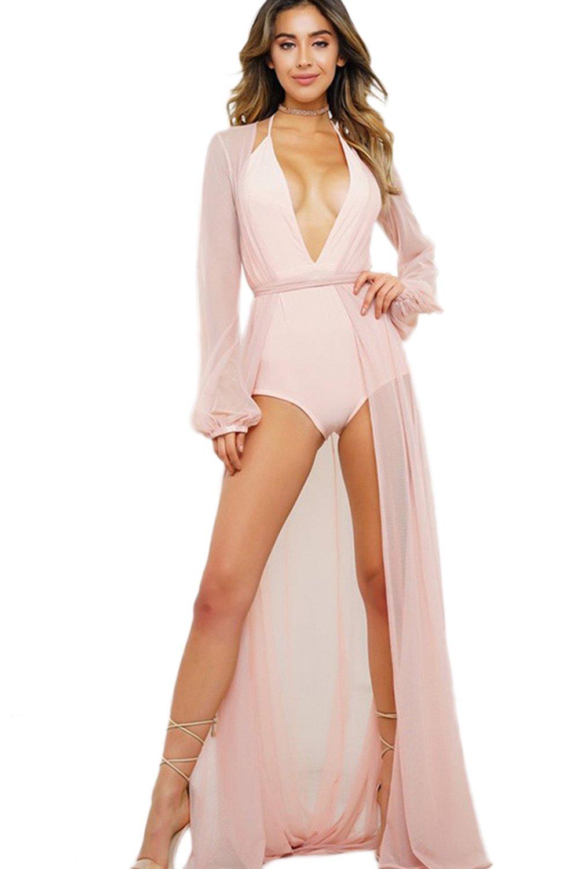 Womens Bikini Cover up Sheer Kimono Cardigan Swimwear Maxi Beach Dress CAQZ3096
