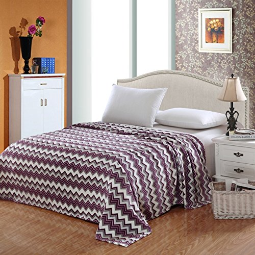 Zig Zag Plush - Camessa Collection Micro Plush Blanket, Purple Zig Zag, King