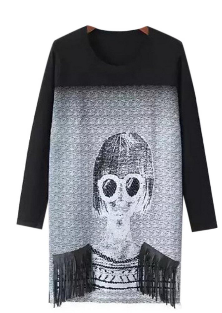 Lingswallow Women's Black O Neck Beauty Glasses Print Tassel Pullover Sweater