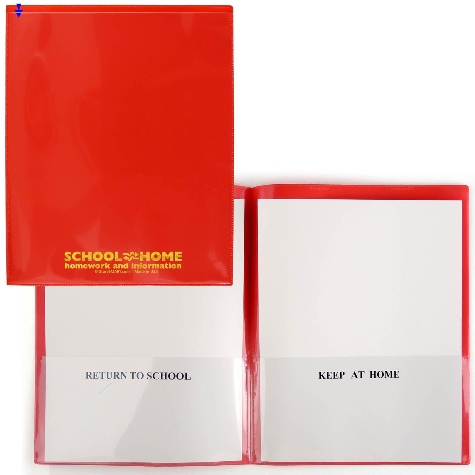 StoreSMART Red Plastic CUSTOM School/Home Folders 100-pack - Letter-Size Twin Pocket - SH900SV-PRINT-R-100