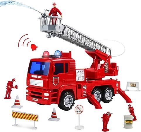 Symiu Camion Bomberos Juguetes Coches Vehiculos con Bomba de Agua Escalera Extendible 4 Bombero y 14 Accesorios Brillar Sirenas Regalo para Niños 3 4 5: Amazon.es: Juguetes y juegos