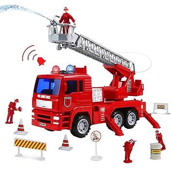 Camion Bomberos Juguetes Coches Vehiculos con Bomba de Agua Escalera Extendible 4 Bombero y 14 Accesorios Brillar Sirenas Regalo para Niños 3 4 5