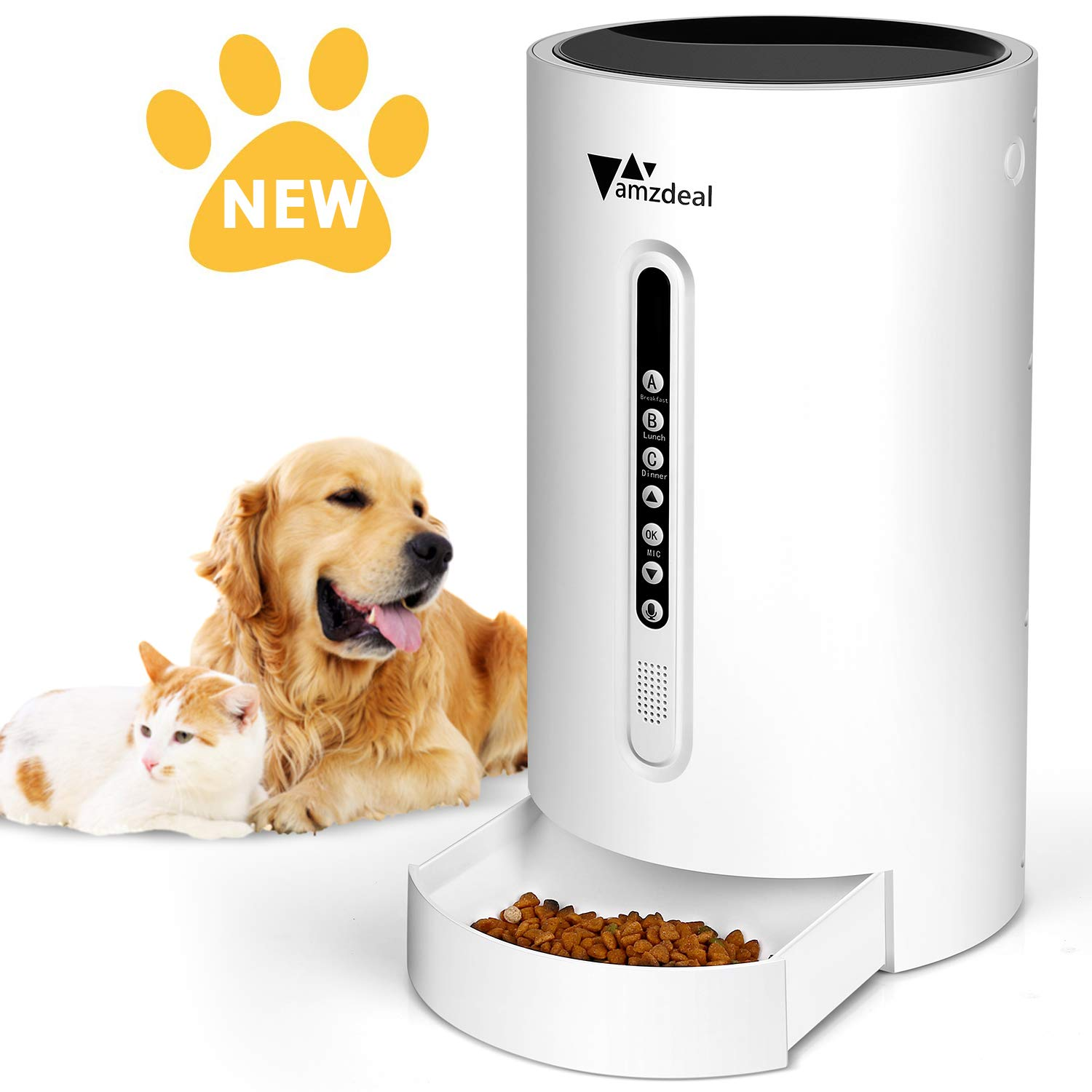 amzdeal Automatic Cat Feeder Dog Feeder Cat Food Dispenser with Programmable Meal Size and Time, 4 Meals per Day, Suitable for Dog and Cat by amzdeal
