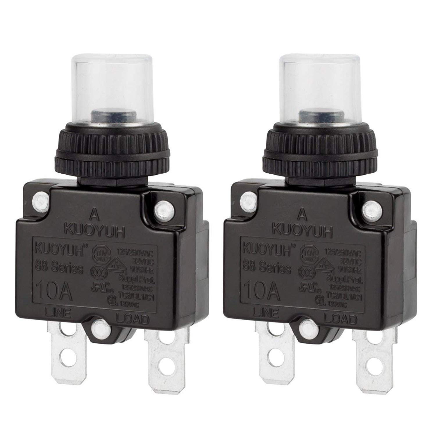 Circuit Breaker, DIYhz Thermal Overload Circuit Breaker 88 Series 10A 32V DC 125/250VAC 50/60Hz Push Button Circuit Breaker Reset Boot Switch and Waterproof Button Transparent Cap 2 Pcs