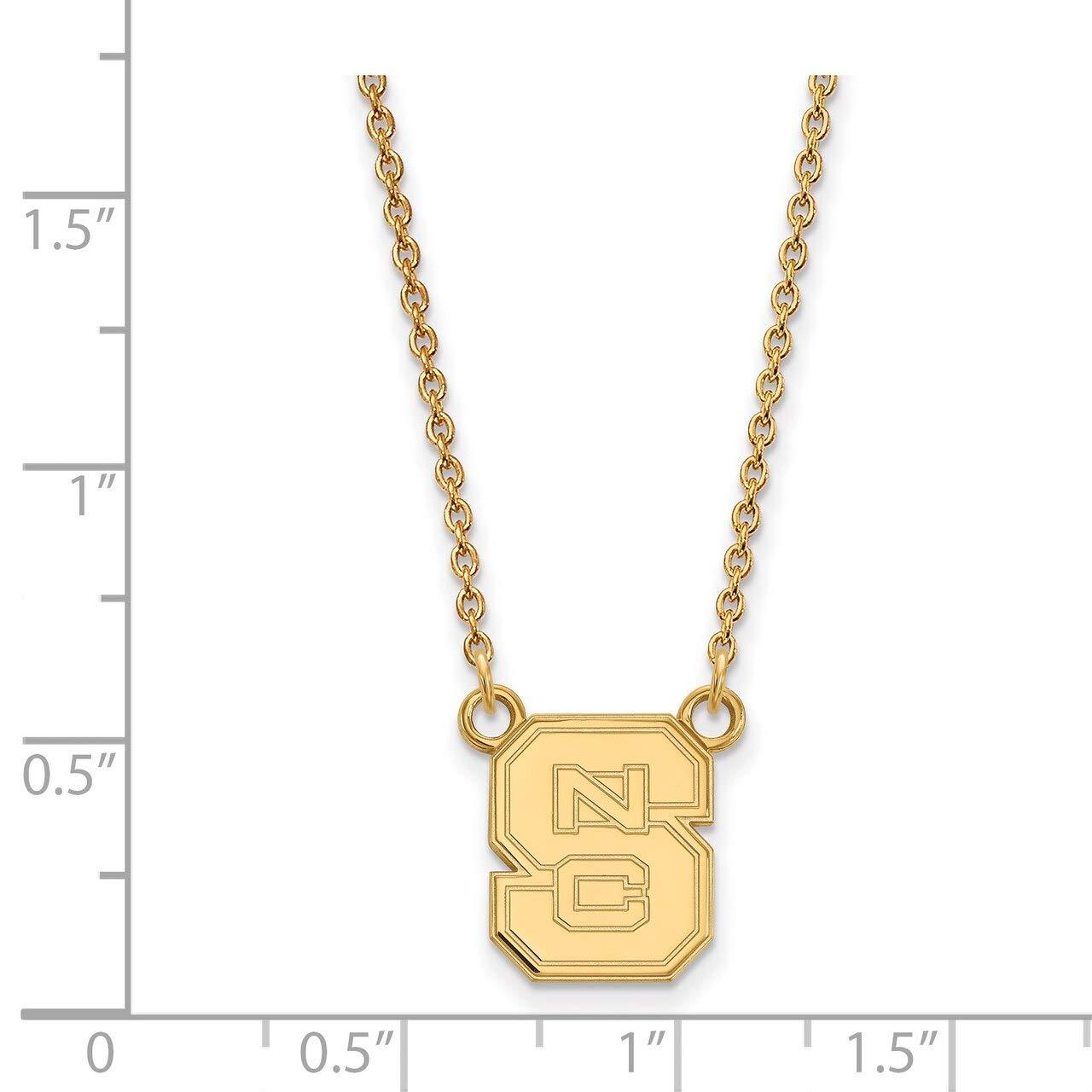 Lex /& Lu LogoArt Sterling Silver w//GP North Carolina State University Small Pendant w//Necklac LAL139896