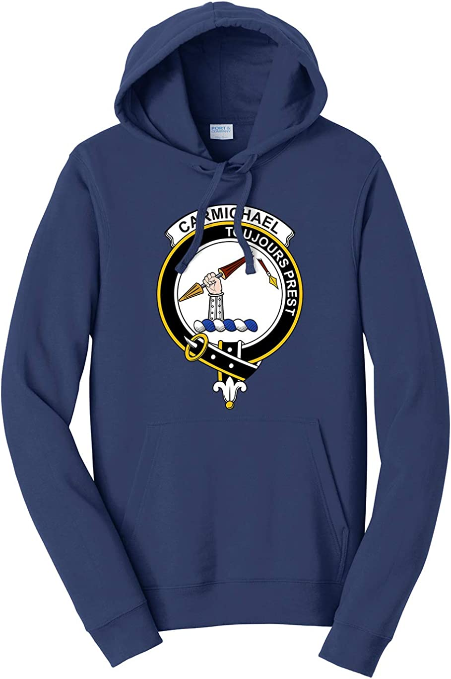 Tenacitee Mens Scottish Clan Crest Badge Carmichael Hooded Sweatshirt