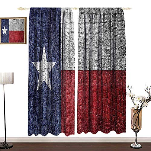 Anshesix Printed Curtain Western Decor Collection Texas State Flag Painted on Luxury Crocodile Snake Skin Patriotic Emblem W108 xL72 Decor Curtains by