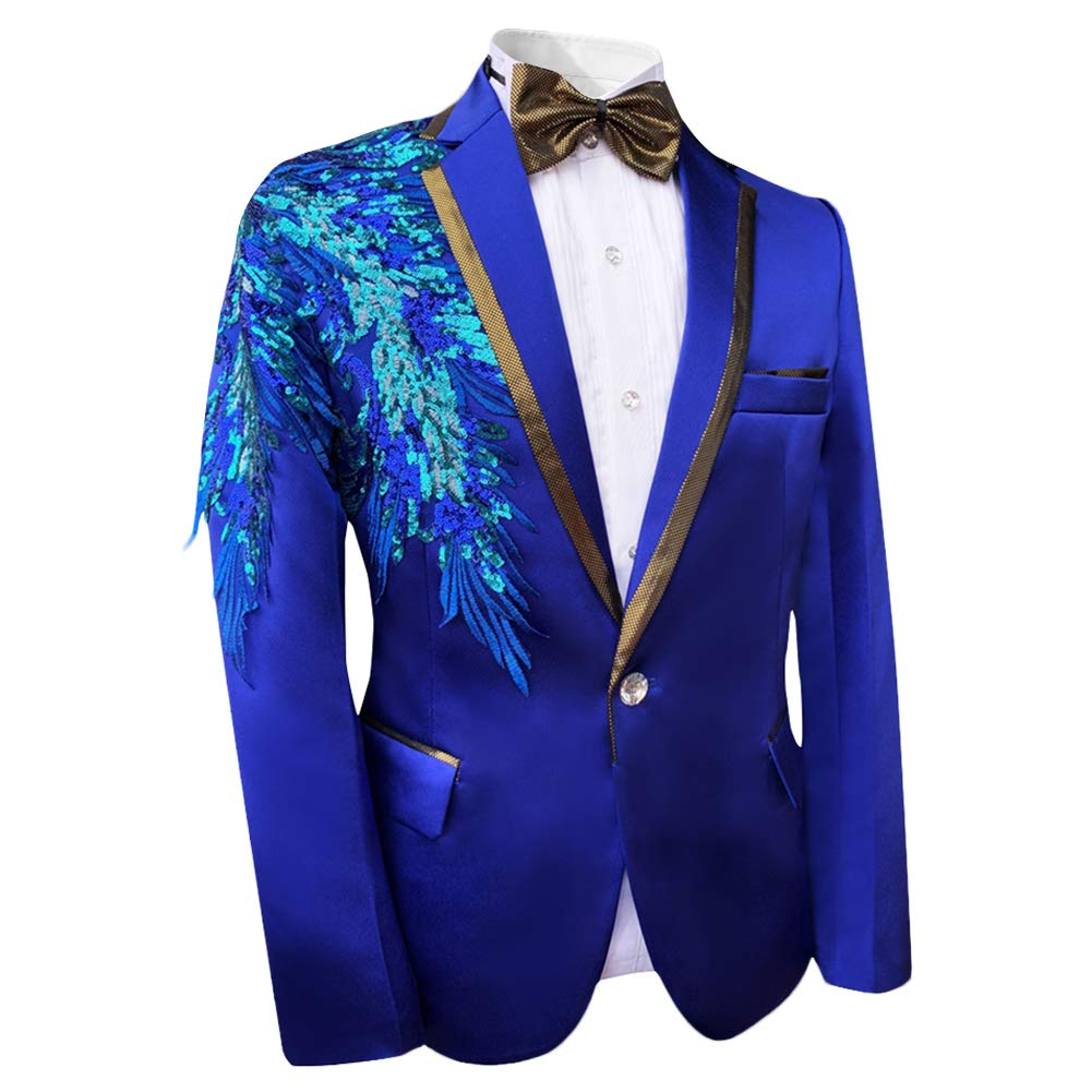 Boyland Boys 3 Pieces Suit Notch Lapel Tuxedo Jacket Pants Bowtie Shiny Party Dress Blue 3 Styles