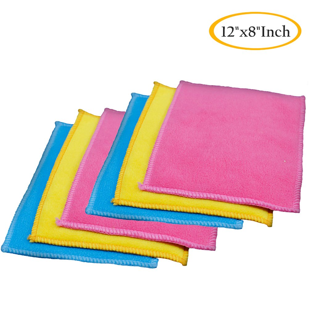 NEUAIR Microfiber Dish Cloth, Best Soft and Super Absorbent Dust Cloths Kitchen Cleaning Cloths, 8''x12''Inch, 6 Pack
