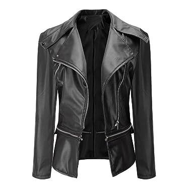 chaqueta de bombardero Sannysis cardigans cremalleras de cuero de imitación con bolsillo chaquetas mujer moto deportivas invierno baratos abrigo invierno ...