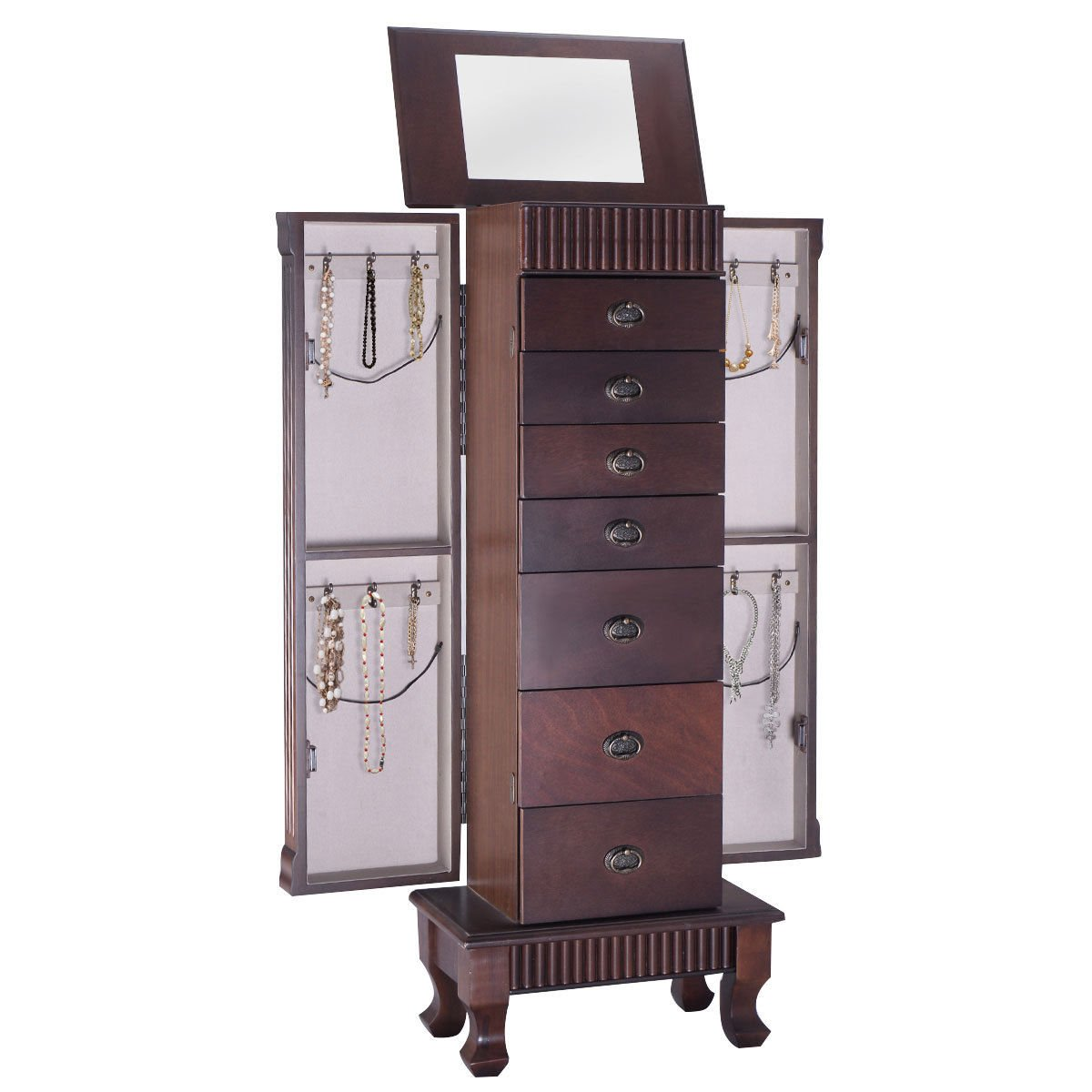 Giantex Jewelry Armoire Chest Cabinet Organizer Wood Bedroom Furniture with 1 Makeup Mirror Lid 12 Necklace Hooks Swing Door Makeup Storage Drawer Stand Large Standing Jewellery Armoire w/ 7 Drawers HW52733