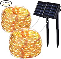 Solar String Lights, Colohas 2-Pack 33ft 100 LED Copper Wire Outdoor String Fairy Waterproof Christmas Lights 8 Modes Solar Powered Fairy Lights Home,Gardens, Patios,Weddings Parties(Warm White)