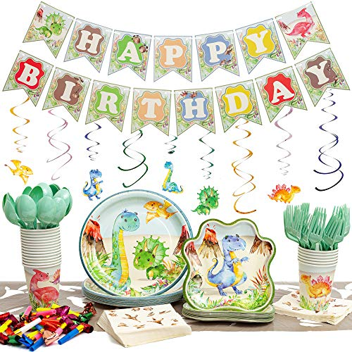 Dinosaur Party Supplies Pack | Serves 20 | Set Includes Plates, Cups, Napkins, Table Cloth, Cutlery, Birthday Banner, Decorations and Favors | 192 Pieces by Praity -