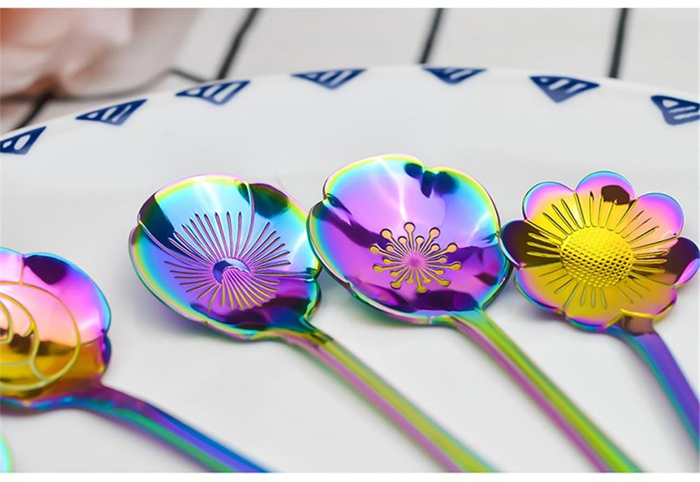 Cha Long 8 Pcs Rainbow Flower Stainless Steel Spoons Set,Coffee Tea Mixing Soup Sugar Dessert Appetizer Seasoning Bistro Fruit Cake Spoons, Party Farvors (#1) by Cha Long (Image #4)