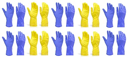 DeoDap Rubber Hand Gloves Reusable Washing Cleaning Kitchen Garden (Color May Vary) (Large, 10 Pairs)