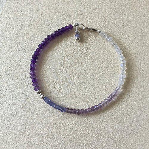 Tribe Silver 3mm (JP_Beads Ombre Amethyst Tanzanite Moonstone Karen Hill Tribe Thai Silver Beaded Bracelet, Sundance Style, February Birthstone 3-5mm)
