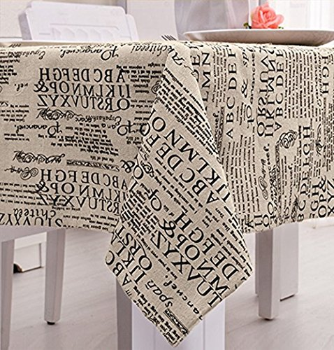 48 Inch Square Dining Table - LINENLUX Ablecloth Square Cotton Feel Tablecloth (Letter,55.1x55.1In)