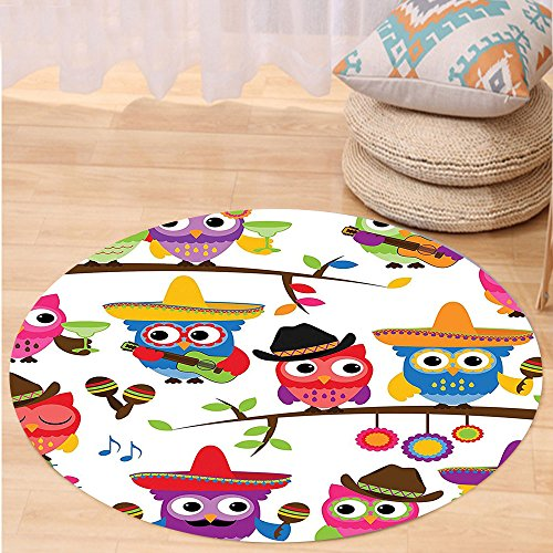 Niasjnfu Chen Custom carpetOwls Home Decor Collection Collection Of Cowboy Cowgirl Owls With Hats Guitars Cactus Cinco De Mayo Themed Art Bedroom Living Room (Mayo Autograph)