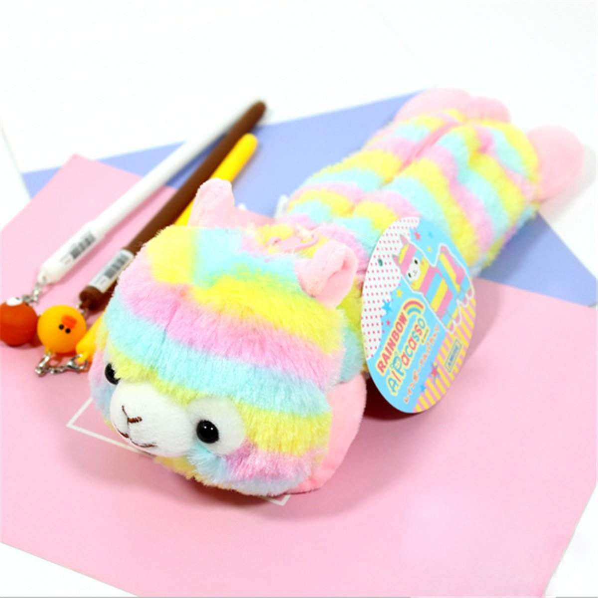 Alpacasso 10'' Plush Rainbow Alpaca Pencil Bag, Cute Soft Stuffed Animals Stationery Bag. (Pink)