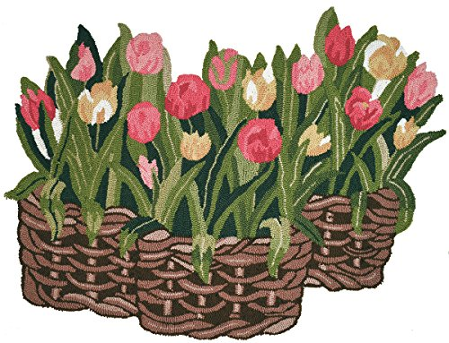 Homefires Tulips in Wicker Basket Shaped Rug 3' x 3' Indoor Rug