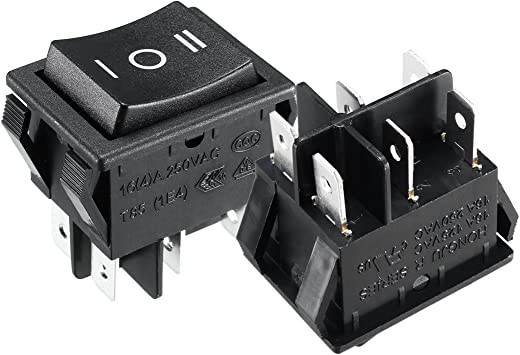 6Pin Toggle Button Snap 16A 250V AC 20A 125V AC 3 Position On//Off DPDT Mini Boat Rocker Switch Black for Car Auto Boat and Household Appliances 5Pcs