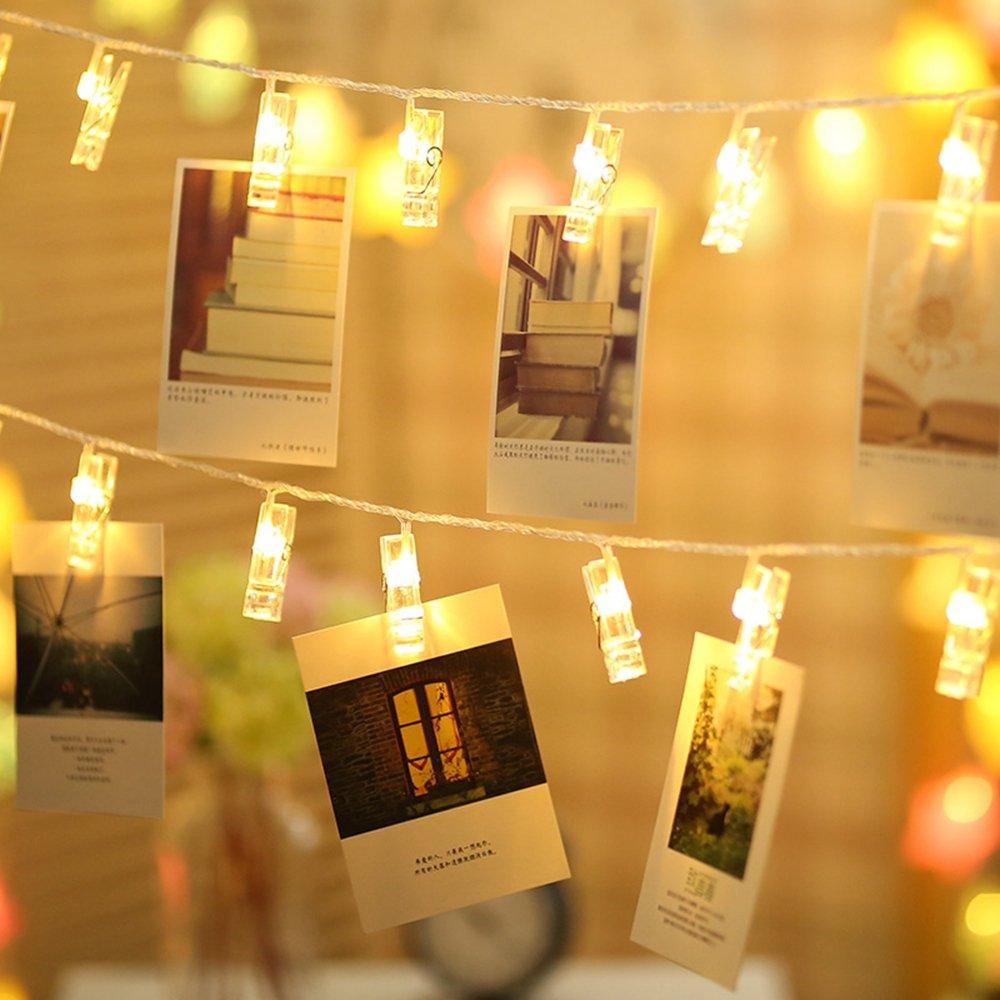 Cadenas de Luces,Gledto LED String Light de Baterías forma de Clothespin Aliler de la Ropa Romántica Fotos Clip Luces de Cadenas LED para Navidad,Fiestas,Bodas,Jardines,Compleaños,Festivales Decor - Blanco Cálido LAP230